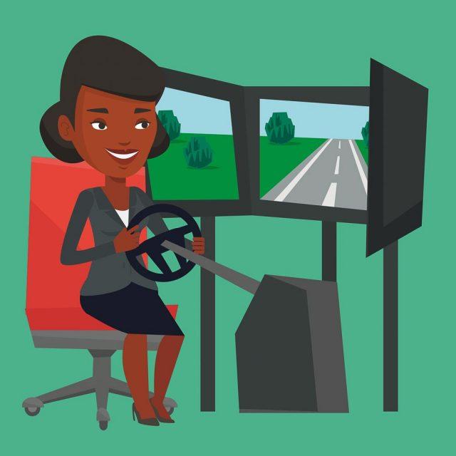 ung afrikansk-amerikansk kvinna kör e-sport motor